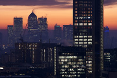 Heron Tower and Canary Wharf at dawn (London From The Rooftops) Tags: city uk england mist colour london sunrise dawn lights construction view vivid cranes jb canarywharf herontower