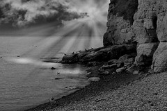Beer Cliffs in Autumn (Krissdanielss) Tags: old blue autumn sea england blackandwhite sun seagulls seascape black london nature beer canon landscape coast countryside boat sailing moody grunge country cliffs devon sunburst 1855mm 2012 mygearandme mygearandmepremium canon1100d