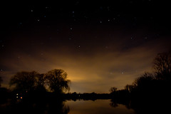 Stars in the Sky (corinne.schwarz) Tags: longexposure trees light sky lake reflection night stars moody michigan clinton nighttime