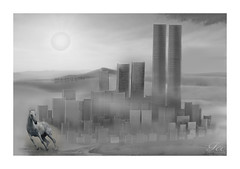 LostCity (FCC Photograph) Tags: city sunset bw horse stilllife sun macro fog closeup canon vintage advertising lost escape desert post cloudy commercial end atomic cavallo biancoenero fuga apocalyps apocalisse