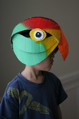 Parrot mask, painted (wrnking) Tags: mask parrot cardboard