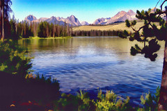 Red Lake and the Sawtooth Mountains, Idaho, USA  2008 Rendering Pat Patrick Alan Swigart (Patrick Alan Swigart) Tags: red usa lake mountains alan pat renderings patrick idaho 2008 rendering sawtooth swigart 080809