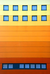 windows & stripes (travagliato - brescia, italy) (bloodybee) Tags: blue italy orange building window colors lines yellow wall architecture facade europe stripes brescia horseriding degrade travagliato palacitt