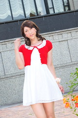 day238-03 red mini cardigan & white race onepiece (Yumiko Misaki) Tags: red white race mini crossdressing transgender transvestite crossdresser cardigan day232 day238 day239 transsexsual lodispotto opepiece
