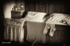 """Bedroom"" - Moggast - Franconia - Germany  (schwaneyer) Tags: old bw socks bedroom socken sw schlafzimmer alwaysexc"