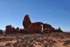 Grand - Turrent Arch From Afar (Drriss & Marrionn) Tags: travel roadtrip lasal utah usa landscape outdoor blueskies cloud clouds sky skies rock mountain mountains canyon mountainside sandstone nature red crag cliff archesnationalpark moab rockformation arch naturalarch turretarch