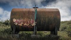 It's a tank. A rusty tank. (Corbicus Maximus) Tags: portland dorset august 2016 d7000 nikon lightroom summer rusty quarry abandoned crusty derelict tank graffiti cloud sky grass uk united kingdom street art