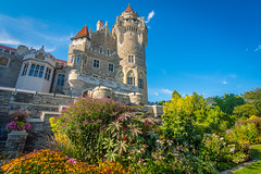Gardens and Above (Viv Lynch) Tags: casaloma toronto attraction ontario tourism castle gothicrevival architecture gardens back lakeside sunset downtown davenport building victorian gothic fountain canada summer 2016 museum mansion