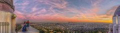 Under a candy-colored sky (Candice, AKA Bessie Smith) Tags: hdr griffithpark griffithobservatory losangeles downtown evening sunset pano panorama sky clouds color colorful view hdrpanorama scenic dtla people