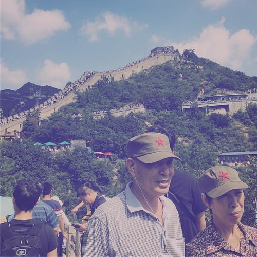 I'm not sure why, but I enjoyed this couple and their old school army hats. #china #greatwallofchina