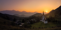 Slovenia (Dejan Hudoletnjak) Tags: landscape country countryside sunrise mountains valley morning summer summermorning summersunrise nature land earth slovenia slovenija church pasture pasturelandscape alps