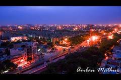 Waking up to the weekend (Amlan Mathur) Tags: noida delhi india asia traffic timelapse sony nex6 construction blue hour fun silent quiet light trails lights