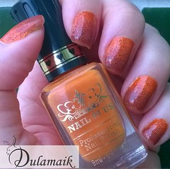 Desafio das 31 Unhas: 10 - Unhas Gradientes (Dulamaik) Tags: desafio repetido nailplus glitter brilho laranja esponjado edk superprola colorama