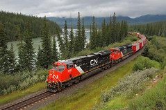 New Tier 4 at Solomon (Moffat Road) Tags: canadiannational cn manifestfreight freighttrain newlocomotive ge et44ac no3067 3067 brule lowclouds curve cnedsonsubdivision solomon alberta canada train railroad locomotive ab