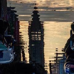 REFLET (zventure, off until late September) Tags: abstrait aube abstract bateaux clocher eglise reflet petitcanal calme serenite