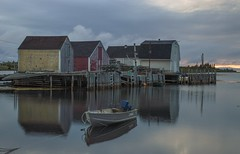 Calm Blue Rocks Morning (corybeatty) Tags: atlantic maritimes morning sunrise canada light sun beauty clouds cloud cloudscape landscape nova scotia blue rocks reflection houses boat water fishing village