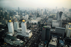Krung Thep, the city of angels (fredcan) Tags: asia southeastasia thailand bangkok krungthep city cityofangels capital siam skyline view buildings towers skyscrapers evening smog urbanenvironment travel fredcan
