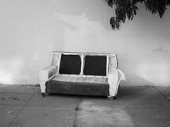 Deconstructed (Bart D. Frescura) Tags: couch blackandwhite street bartdfrescura bayarea driveby abandoned oakland offtheroad lightanddark