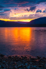 Evening on the lake (stevenbulman44) Tags: water shuswap warm color landscape sunset mountain reflection stones canon summer britishcolumbia 1740f40l lseries filter tripod gitzo