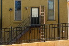 Ladder (joeldinda) Tags: backside building apartment downtown grandledge centralbusinessdistrict fireescape 3304 september ladder wall balcony tool d500 nikon nikond500 eatoncounty michigan 2016
