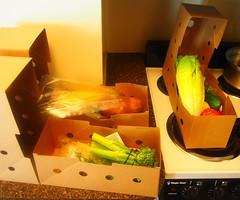 Food Boxes (Lost in Flickrama) Tags: hellofresh vegetables cardboard boxes romainelettuce broccoli potato sweetcorn