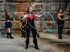 Flowmies (tim.perdue) Tags: independents day festival 2016 franklinton columbus ohio urban city stone wall street sidewalk candid flowmies hula hoopers group troupe four quartet girls women people figures hulahoop performers entertainers costumes