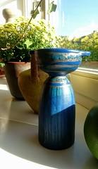Unidentified - Blue Subtly Glazed Candlestick - Vase (Ahornblatt2012) Tags: unidentified vase blue subtle glaze candlestick candleholder vintage partlymetallic copperglaze