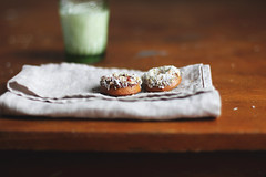 Donuts! (anna kurzaeva) Tags: food breakfast baking coconut cinnamon honey donuts snack almonds nutmeg nosugar hazelnuts aglassofmilk datepaste creativephotocafe