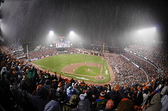 SF Giants NLCS Game 7 - Ninth Inning Rain (Greg - AdventuresofaGoodMan.com) Tags: baseball fisheye playoffs giants cardinals mlb sanfranciscogiants game7 stlouiscardinals baseballstadium raindelay nlcs postseason attpark 2012nlcsgame7 2012ncls