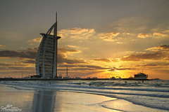 Sunset at the Burj Al Arab (Gareth Spiller) Tags: sunset sea sky seascape beach canon landscape hotel dubai waves sundown dusk burjalarab 7d 1022 7star garethspiller spillerphotography