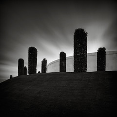 Arboretum (Andy Brown (mrbuk1)) Tags: longexposure trees cloud grass wall contrast garden dark square landscape mono blackwhite topiary contemporary military columns lawn s