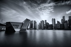 An afternoon at the Pavilion (Shutter wide shut) Tags: longexposure bw reflections cityscapes canonefs1022mmf3545usm cloudmovement marinabaysands canoneos7d crystalpavilion leebigstopper niksilverefexpro2