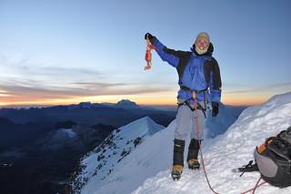 Dragobert and Me @ the top - Climbing Huyana Potosi - Bolivia