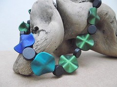 Rubberised Beading (GraceGaldoDesigns) Tags: blue green diy necklace beads handmade craft jewellery etsy beading rubberized rubberised
