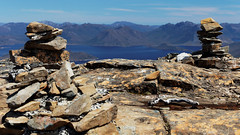 20121111-021-Summit cairns on Mt Eliza (Roger T Wong) Tags: lake water trek island climb nationalpark walk australia hike tasmania np bushwalk canonef1740mmf4lusm tramp wha scramble mteliza lakepedder mtsolitary canon1740f4l southwestnationalpark impoundment worldheritagearea canonef70200mmf4lisusm mtanne canon70200f4lis canoneos5dmarkii mountanne huonserpentineimpoundment