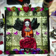 Finished (jimbotfuzz79) Tags: saint rose glitter angel square dayofthedead skull shrine heart mary kitsch virgin squareformat diadelosmuertos shadowbox sequin sugarskull angelofdeath blackfeather iphoneography instagramapp uploaded:by=instagram
