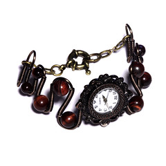 Steampunk Victorian Jewelry - Copper - Working watch bracelet -Brown Tiger Eye (Catherinette Rings Steampunk) Tags: wire watch jewelry jewellery bracelet etsy deviantart steampunk