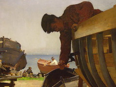 Dominik Skuteck, Workers Building Boats in Capo dIstria, 1903, detail 2 (DeBeer) Tags: art museum painting landscape boat dock gallery nationalgallery menatwork coastal worker slovensko slovakia artmuseum shipyard 20thcentury bratislava boatbuilding 1903 istria landscapepainting early20thcentury modernpainting modernlandscape banskbystrica 20thcenturyart coastalscene bystrica slovaknationalgallery 20thcenturypainting skutezky slovensknrodngalria slovakart slovakpainting dominikskuteck skuteck dominikskutezky capodistria