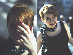 MOLLY (maxwell.arnold) Tags: park lighting red portrait woman chicago cute girl beautiful smile smiling fashion scarf canon happy photography 50mm ginger diptych pretty hand dress loop bokeh millenium milleniumpark polka redhead polkadots beautifulwoman chicagoloop moment dots redline tones tone vsco vscocam