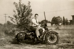 Lou Despot on an Indian Motorcycle, Bristol, Pa., 1945 (Alan Mays) Tags: old men portraits vintage bristol 1930s photos pennsylvania indian chief motorcycles ephemera pa 1940s photographs snapshots 1945 logos buckscounty companies manufacturers foundphotos indianmotorcycle despot indianchief november9 saddlebags vintagemotorcycles indianchiefmotorcycle nevrfade loudespot nevrfadephotoprints