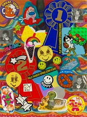 Happy (Cory Kram) Tags: color collage rainbow stickers cartooncharacter smileyface stickeralbum stickercollection