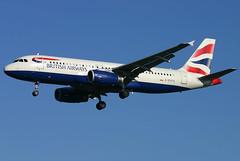 British Airways - G-EUYA (Andrew_Simpson) Tags: uk plane airplane heathrow aircraft aeroplane landing airbus arrive ba arrival britishairways lhr heathrowairport a320 320 arriving baw oneworld londonheathrow egll a320200 londonheathrowairport oneworldalliance 320200 fwwbm geuya ba675