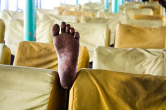 A dream he was dreaming of (Catch the dream) Tags: sleeping feet lunch foot nap sleep seats worker dhaka bangladesh sadarghat