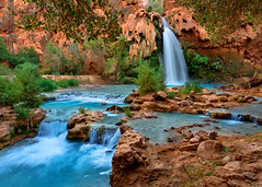 Havasu Falls Landscape (Rob Kroenert) Tags: morning arizona creek sunrise dawn waterfall long exposure native indian grand az canyon falls american havasu reservation supai havasupai havasufalls