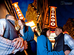 Araceli & Robert: {engaged}! (Christopher.F Photography) Tags: blue chicago classic love night lights engagement theater theatre hour session engaged