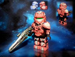 "LEGO Halo 4 - Infinity Slayer Spartan IV ""Warrior"" Red Team Variant (MGF Customs/Reviews) Tags: light red team lego infinity chief 4 rifle halo master warrior slayer requiem iv spartan the cortana unsc didact prometheans"