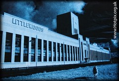Littlewoods Pools Building, Edge Lane, Liverpool, England UK (Hotpix [LRPS] Hanx for 1.5M Views) Tags: street old city uk blue red england bw dog man building art film festival port liverpool river ir mono hall kodak harbour hill grain smith tony edge lane artdeco toned deco infra mersey gms scouser littlewoods hie scouse edgelane