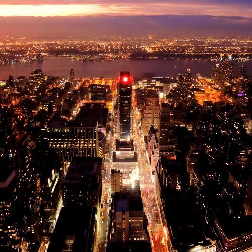 EXPLORED #4 - Manhattan skyline (Charlottz - Away for a bit!) city sunset newyork skyline night buildings square lights nikon glow view skyscrapers manhattan crop projectflickr p510