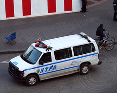 NYPD Police Transport Van on Columbus Circle, New York City (jag9889) Tags: street city nyc ny newyork car view manhattan police nypd aerial vehicle scape columbuscircle department lawenforcement finest 2012 jag9889 y2012