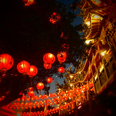 (QueenNomad) Tags: city red 6x6 temple chinese culture taiwan olympus kaohsiung lanterns   linyuan    earthasia xz1